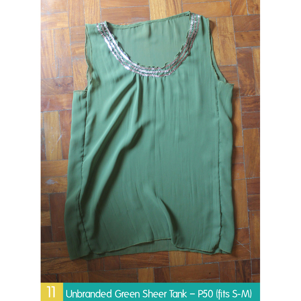 Unbranded Green Sheer Tank – P50 (fits S-M)