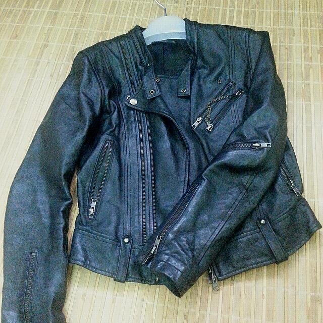 【降】WAM真皮黑色騎士皮衣XS