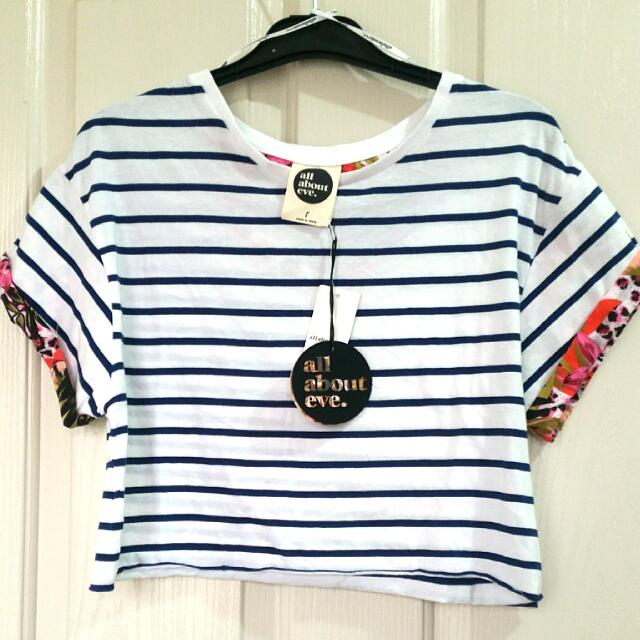 White/Navy stripes crop top