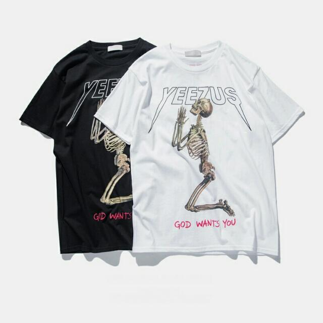 ddb3726c Yeezus Tour Kanye West yeezy t shirt Skull red letter short sleeve t ...