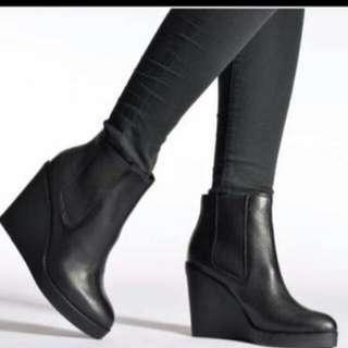 Aldo Brand New Wedge Boots-black Size 38