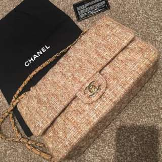 Authentic Chanel 2.55 Classic Medium Tweed Chain Shoulder Bag