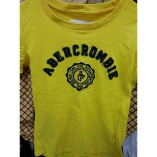 abercrombie & fitch 黃 短t