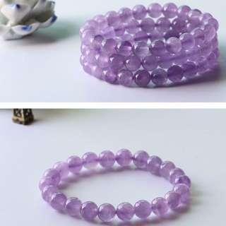 ** Promotion ** Natural Lavender Amethyst Crystal Round Beads Bracelet 天然薰衣草紫晶