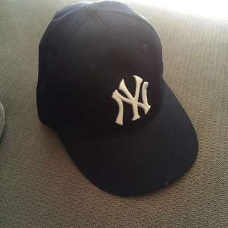 NY Hat - Navy Blue And White