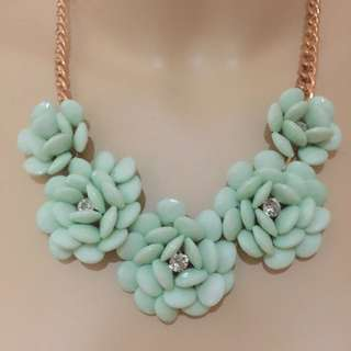 Green / Blue Flower Necklace Gold Chain And Crystals