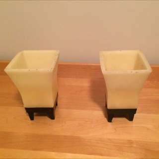 2 Large Square Candles With Metal Base