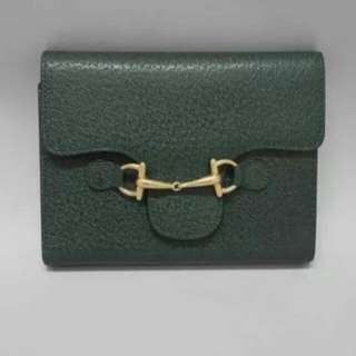 Auth Gucci Horsebit Pigskin Notebook Cover Green