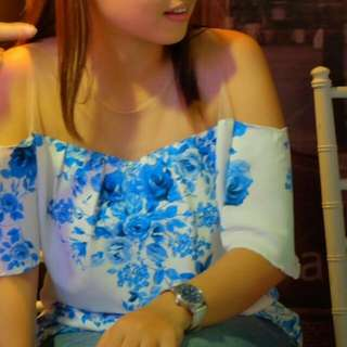 Blue Chinoiserie Top
