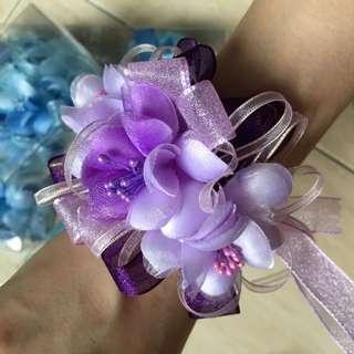 結婚 新娘 伴娘 婚禮手圈 手腕花 紫色 花圈