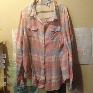 Cotton On Shirt Kemeja Flanel Top Pink