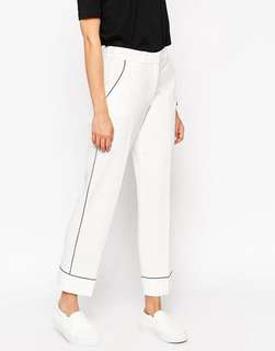 ASOS White Straight Leg Pants/Trousers