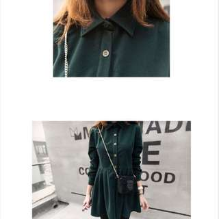 墨綠 燈芯絨連身裙洋裝