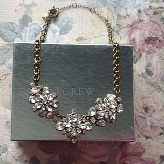 J Crew Flower Clear Crystal Wild flowers Statement Necklace Authentic