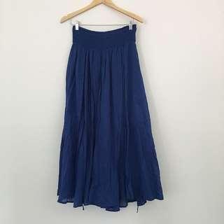 Boho Summer Blue Maxi Skirt
