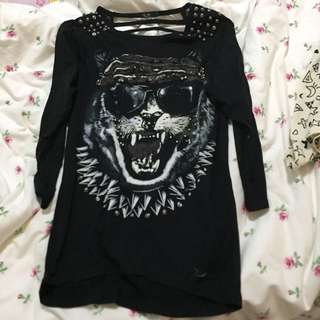Black Long Sleep Studded Top PENDING