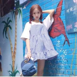 日系 小清新 寬松 荷葉邊 吊帶裙 顯瘦 學生 裙子 韓版 連衣裙