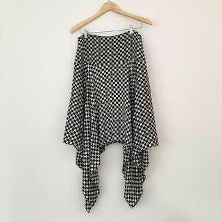 Asymmetric Black and White Check Skirt