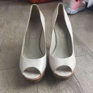 Aldo Shoes In Off White Real Leather