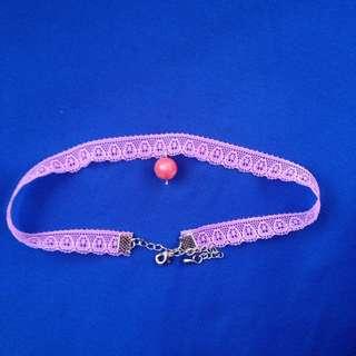 粉色蕾絲珠珠頸鍊