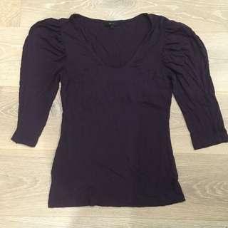 Cue Plum Purple Knit Top Size 8