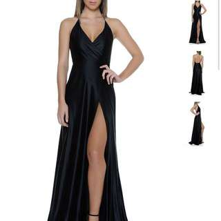 FOR HIRE: Formal Evening Occasion Prom Dress with Thigh High Split Wrap Silk Satin