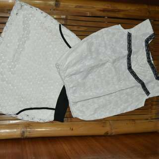 Cream Blouse And Skirt Set