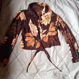 Preloved Floral Crop Top Long sleeve