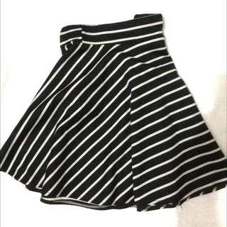 Stripes Blue And White Skater Skirt