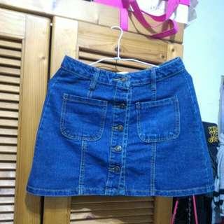韓系 藍色高腰排扣雙口袋可愛短裙牛仔裙