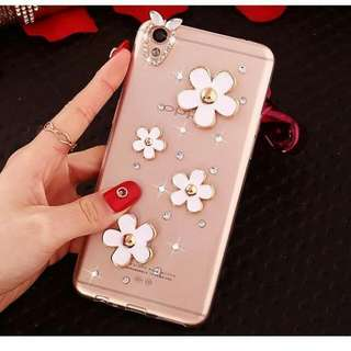 💟預購品 💟手機殼-特製-捷克水鑽閃亮亮花朵雛菊透明硬殼