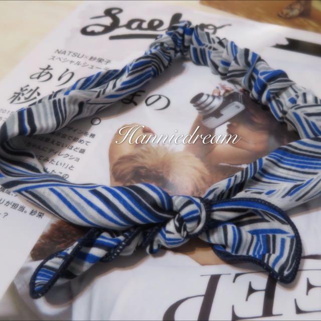 繽紛條紋藍兔耳朵髮帶