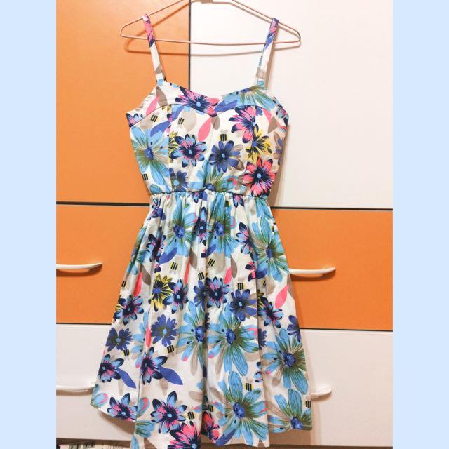 🔹絕美胸墊熱帶花朵細肩帶洋裝