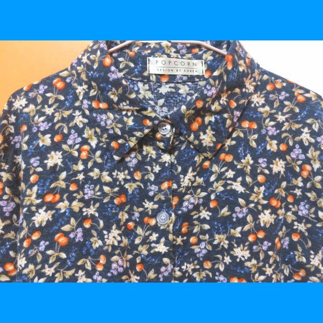 🔹復古花朵長袖長版襯衫