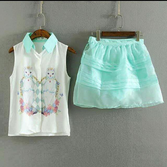 韓版撲克貓咪無袖雪紡短裙套裝