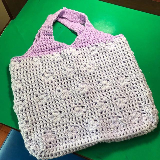 浪漫紫手工毛線袋子