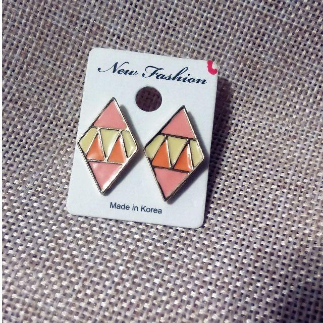 幾何圖案耳環 (耳針式)