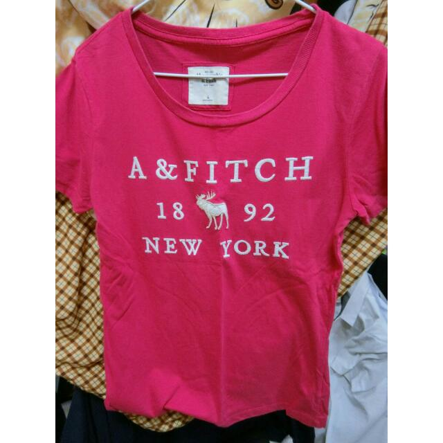 abercrombie & fitch 玫紅 短t