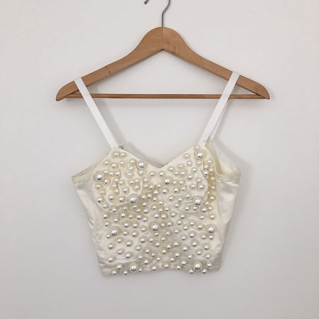Amazing Vintage Faux Pearl Bustier