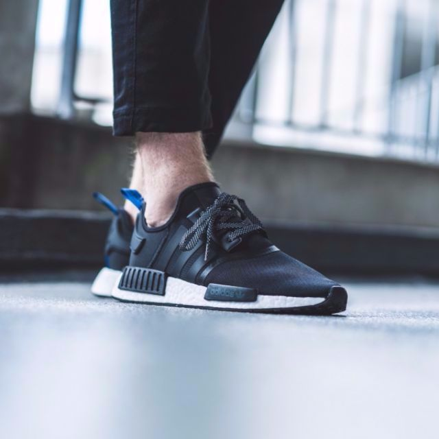 297a6fc30e757 Authentic Adidas NMD R1 Core Black   Blue Tab