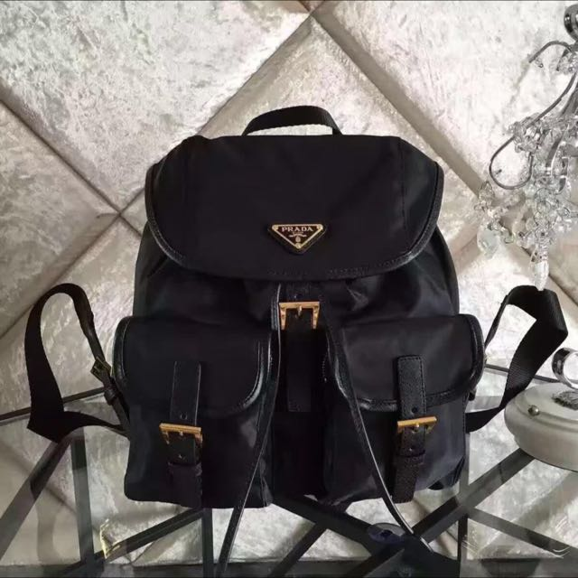 70c9feabfc85 Authentic Prada BZ0030 Black Microfiber Nylon Drawstring Backpack Bag,  Luxury, Bags & Wallets on Carousell
