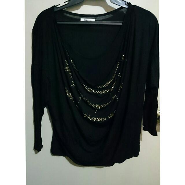 Black Longsleeved Blouse With Gold Accents