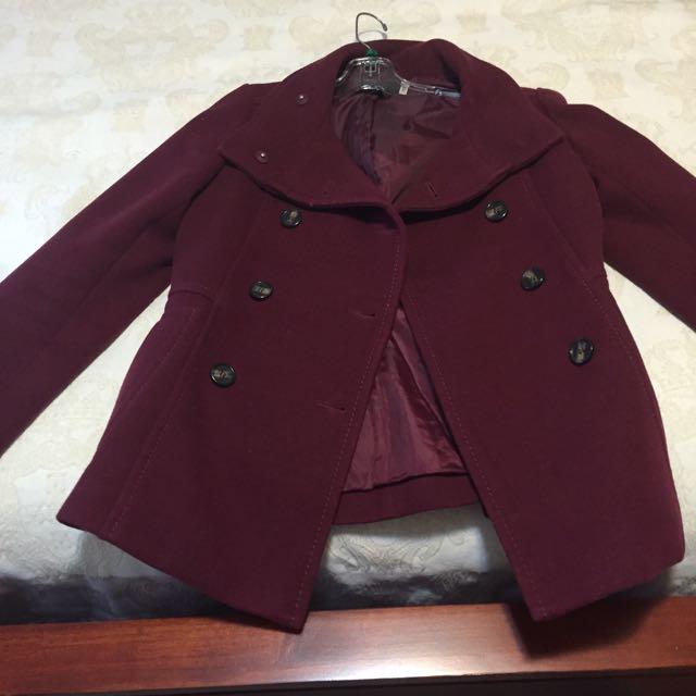 Burgundy Wool Coat