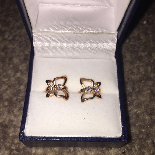 Butterfly Ear Rings 9 Carrot Gold