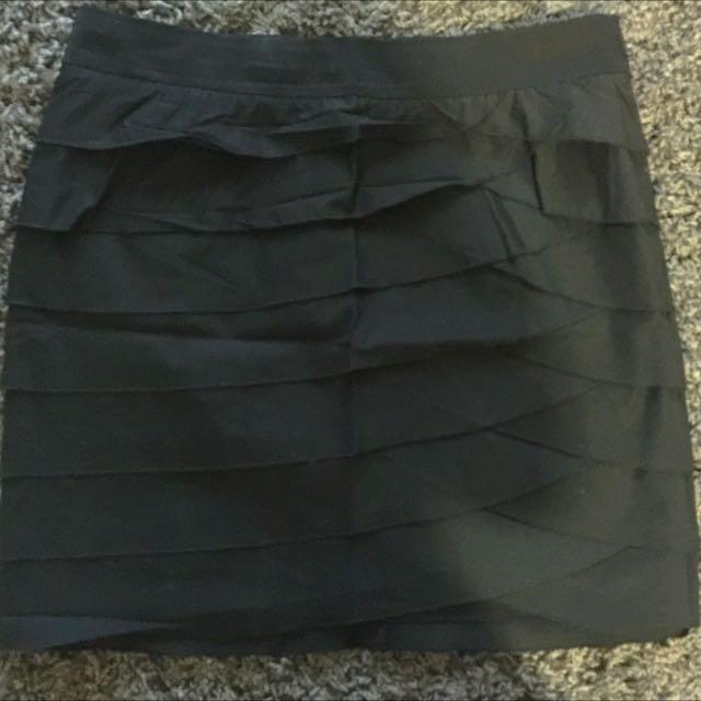 DKNY Black Ruffle Skirt
