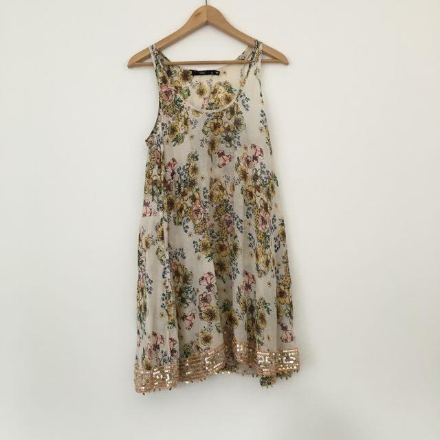 Embellished Floral Shift Dress