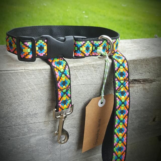 Fluorescent Aztec Dog Collar And Lead Set