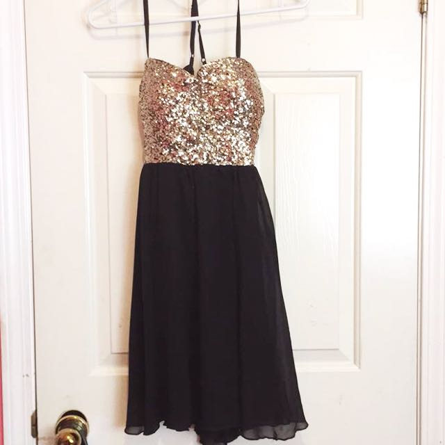 Gold Sequin & Black Flowy Dress