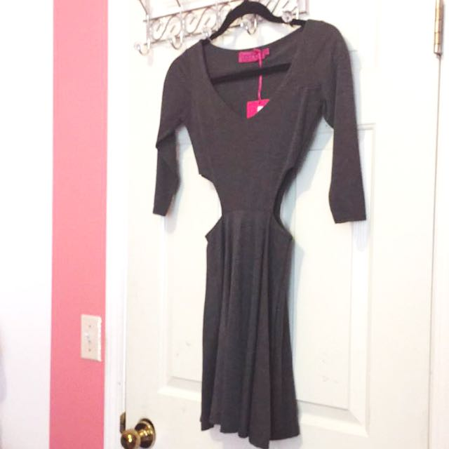 Grey Skater Dress With Side Cut Outs