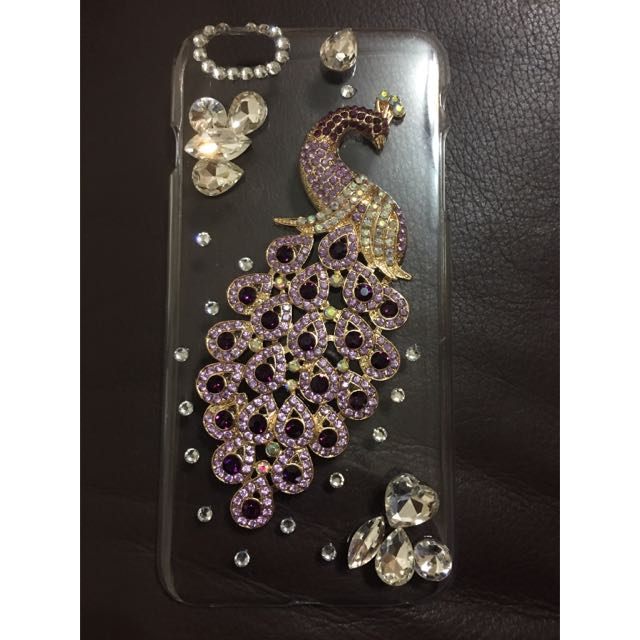 透明iphone6+ 6s+ 孔雀水鑽手機殼